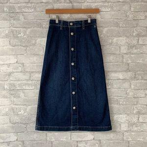 Alexa Chung for ag button front denim midi skirt